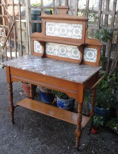 beautiful edwardian marble top wash stand #Victorian #Stands