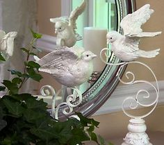 Set of 2 Frosted Ivory Doves on Scroll Stand by Valerie