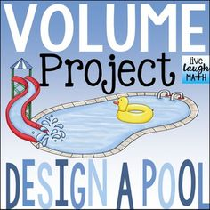 Volume Activity: Your students will love designing their own aquatic center, complete with a diving pool, slide catch pool, and more! In this project, students will share their volume skills in an interview. Then, they will study similar pool plans and finish original pool plans with missing dimensions.