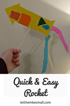 this quick and easy rocket craft is the perfect invitation to play for toddlers and pre-schoolers and lots of opportunities to extend learning Bonfire Night Activities, Bonfire Night Crafts, Preschool Rocket, Preschool Crafts, Space Preschool, Preschool Lessons, Art Activities For Toddlers, Nursery Activities, Space Activities
