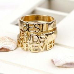 Fashion Letter Forever Best Friend Alloy Rings Set for Unisex
