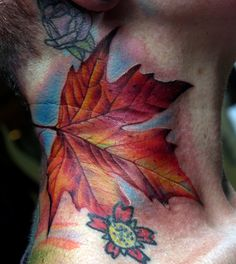 Beautiful maple leaf tattoo