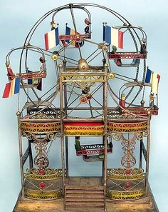 Beautiful Antique GermanToy Ferris Wheel, made for the French Market..