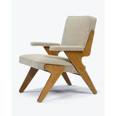 José Zanine Caldas, Lounge chair with wood frame and custom upholstered seat and back in hand-loomed fabric by Tara Chapas, 1960's