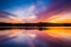 Long exposure at sunset at Long Arm Reservoir, Pennsylvania. by Jon Bilous on 500px