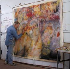 artist robert burridge in studio, in process