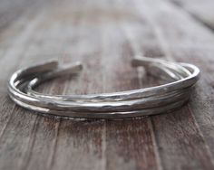 Boho Chic German Silver Hand Hammered Bangle Cuffs  by amywaltz, $34.00