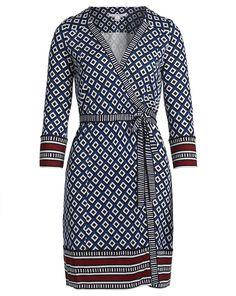 Wickelkleid Tallulah - dunkelblau/weiß/schwarz/bordeaux von Diane von Fürstenberg bei F. DEMEL jetzt kaufen | kleidoo