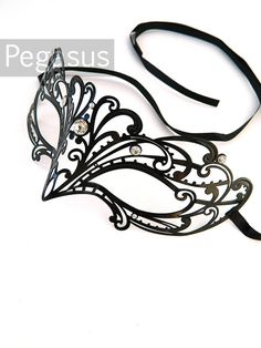 Black Sparrow lace Patterned Venetian Filigree Scroll by pegasus22  cute mask for masquerade party