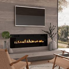 Wall Mounted Fireplace, Home Fireplace, Fireplace Design, Basement Fireplace, Fireplace Feature Wall, Tv Over Fireplace, Linear Fireplace, Gas Fireplace Inserts, Off Center Fireplace