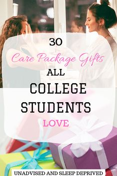 30 Care Package gifts that all college students will love College care package ideas. Not sure what to put in a care package gift? Here are 30 gift ideas perfect for college stud. Presents For Students, College Presents, College Student Gifts, New College, College Board, College Students, College Binder, College Checklist, College Dorms