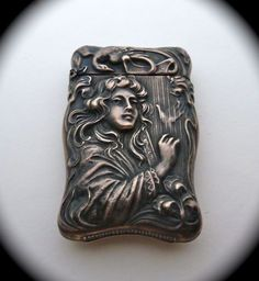 Art Nouveau Sterling Match Safe Woman Playing Harp from bejewelled on Ruby Lane