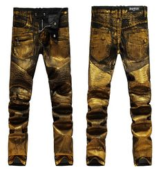 84.99$  Buy now - http://aliwcp.worldwells.pw/go.php?t=32447062869 - Free shipping 2015 Spring new men draping golden coating jeans, men's Slim pants feet nightclub costumes dress Size 28-38