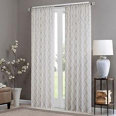 Madison Park Irina Rod Pocket Sheer Window Curtain Panel In White Grey
