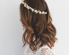 cream gold rose, leaf & berry flower crown // cream gold leaf crown / cream gold flower crown / cream gold / wedding gold flower crown