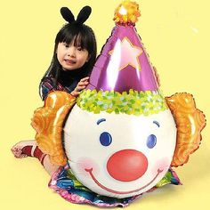 1p Large Clown Shape Aluminium Foil Balloons Birthday Party Christmas Decoration
