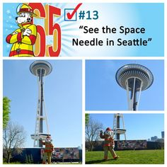 Sparky visited Seattle's Space Needle, which is the largest building on earth by volume by volume. At 605 feet tall, the building is so high that when it