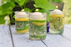 Natural Bug Repellent Luminaries. using essential oils. Light before your guests arrive to help ward off insects and add a magical touch to your table setting.|www.flavourandsavour.com
