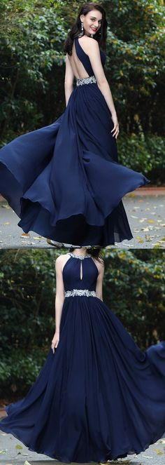 eDressit Elegant Halter Blue Beaded Prom Dress