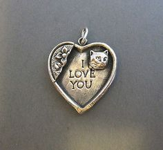 Vintage Sterling Silver Kitty Cat I Love You Puffy Heart Pendant Charm 6 Grams | eBay