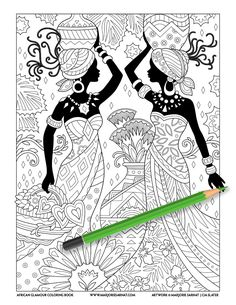 This is the line art for the coloring page in African Glamour that is the basis . - This is the line art for the coloring page in African Glamour that is the basis for the color cover - Colouring Pages, Adult Coloring Pages, Coloring Books, Line Art, Leda Muir, African Art Paintings, African American Fashion, Exotic Art, Creative Textiles