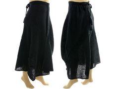 Handmade boho wrap skirt linen in black with black von classydress, $175.00