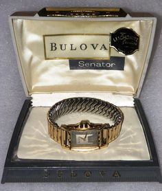 "A vintage Bulova ""Senator"" man's goldtone watch in its original case.  It is a manual wind watch and works well."