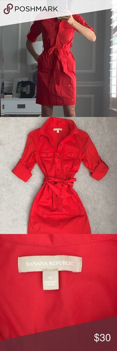 Banana Republic Shirt Dress EUC only worn once, red shirt dress that wraps and ties. Has utility pockets with tortoise buttons. Size 0. Banana Republic Dresses