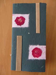 Card from special handmade paper and dry flowers - No. 2