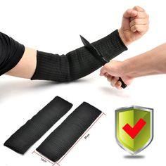 Yosoo Black Kevlar Sleeve Arm Protection Sleeve Anti-Cut Burn Resistant Sleeves,Anti Abrasion Safety (A Pair)