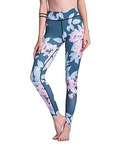 Romacci Women Sport Leggings Contrast Floral Leaves Print High Waist Casual Skinny Workout Fitness Pants Blue