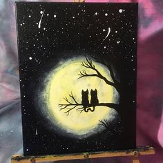 Harvest Moon Kitties    Acrylic paint on a 14 x 11 canvas   Two cats sit side by side on a tree branch admiring the full harvest moon. The painting is sealed with varnish for longevity. It is also wired on the back for easy hanging.