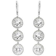Andrea Fohrman Triple Drop Rock Crystal Earrings with Diamonds - White... ($1,300) ❤ liked on Polyvore featuring jewelry, earrings, silver, 18 karat gold earrings, white gold jewelry, white gold earrings, 18k earrings and handcrafted earrings