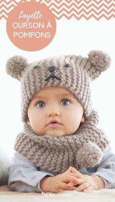 Tricot pour bébé: snob et bonnet - Knitting Patterns Crochet Beanie, Crochet Baby, Knit Crochet, Baby Hats Knitting, Baby Knitting Patterns, Hat Patterns, Big Knit Blanket, Big Knits, Kids Hats