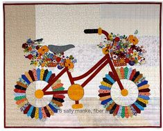 Whimsical Bicycle Art Quilt, Original Design, Cycle Wall Art, Floral Bike, Vintage Decor – Folt Bolt Shop