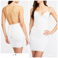 -CROSS POSTED -Charlotte Russe -White Open back dress with gold chain -Size Small -Brand new, never worn Charlotte Russe Bachelorette Party Attire, Open Back Dresses, Charlotte Russe Dresses, Dress Backs, White Dress, Bodycon Dress, Brand New, Things To Sell, Products