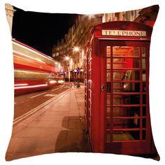 Cojín London Phone by Tres Mares. cojines de ciudades. cojines impresos. Estilo de Londres. Encuentra dónde comprar este diseño y Producto en Colombia. Decohunter