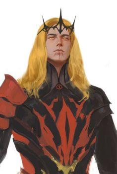 Sauron (Tar-mairon) by ~krabat Character Concept, Character Art, Concept Art, Dnd Characters, Fantasy Characters, Tolkien, Fantasy World, Dark Fantasy, Character Portraits