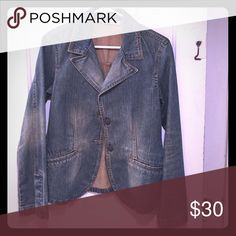 {Zara} Jeans blazer. Jeans blazer. Interesting shade and wash. Never washed or dry cleaned. Good fall piece. Very versatile. Never used. Zara Jackets & Coats Blazers