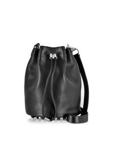 Alexander Wang Alpha Black Leather Bucket Bag at FORZIERI