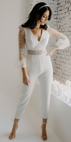 Trend 2020/2021: 33 Wedding Pantsuit & Jumpsuit Ideas ❤ wedding pantsuit ideas with illusion long sleeves simple country nadiamanzato #weddingforward #wedding #bride