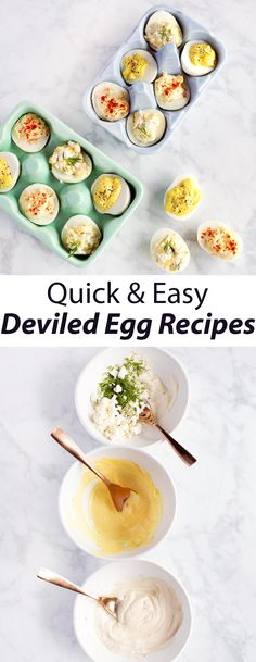 Deviled Eggs 3 Ways - A Beautiful Mess Party Food And Drinks, Party Snacks, Deviled Eggs, Egg Recipes, Yummy Snacks, Just In Case, Brunch, Appetizers, Tasty