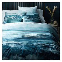 West Elm Oceanscape Duvet Cover, Full/Queen, Blue Teal ($95) ❤ liked on Polyvore featuring home, bed & bath, bedding, duvet covers, teal pillow shams, blue shams, blue pillow shams, organic cotton bedding and blue bedding