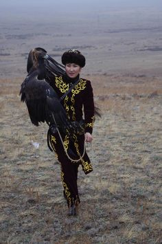Makpal Abdrazakova, the only female eagle hunter (meaning she hunts with an eagle) in Kazakhstan.