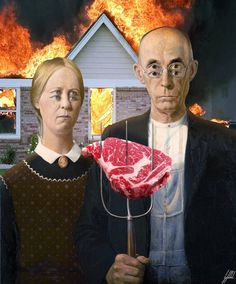 #americangothic #grantwood #famous #painting #bbq #fire #art #artwork Fire up the grill ! It' s bbq time.  American Gothic is a painting by Grant Wood.