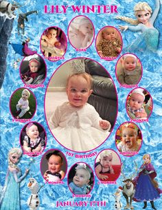 Frozen Monthly Collage   The best way to remember your child's first year is to make a photo collage of their monthly photos. This is the perfect memory to share with your family & friends on your child's special first birthday!  I also offer CUSTOM collages with ANY THEMES at all!  Quick turn around time and I guarantee you will LOVE IT!  Copyright © 2015 All rights reserved Anna Roze Design