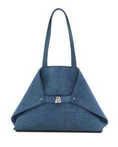 Ai Small Denim-Print Top-Handle Bag, Light Blue