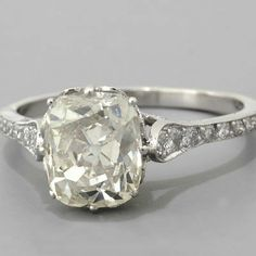 different! prettyyyy  Cushion-cut Diamond Engagement Ring Antique Edwardian Style Platinum
