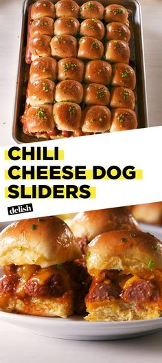 Chili Cheese Dog Sliders Will Feed Your Whole Crew - Slider Sandwiches - HotDog Hot Dog Recipes, Beef Recipes, Cooking Recipes, Sandwich Recipes, Cooking Chili, Crowd Recipes, Cooking Broccoli, Cooking Beets, Food Cakes