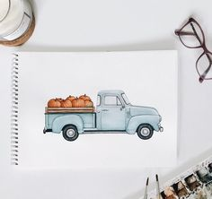 Fall is here and so are my new autumn prints!  loved painting this one! print listed on my etsy shop (link in bio) ✨ Hailey Kinsey on instagram @hailey.creative Autumn painting, fall artwork, watercolor print, watercolor painting, pumpkins, pumpkin print, blue vintage truck, autumn illustration, pumpkin painting, pumpkins in back of truck, autumn vibes, fall time painting, art photography. Time Painting, Autumn Painting, Autumn Art, Autumn Prints, Painting Pumpkins, Pumpkin Painting, Painting Art, Watercolor Drawing, Watercolor Paintings
